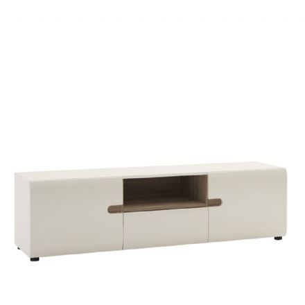 Chelsea Living Wide TV Unit in white gloss with an Truffle Oak Trim